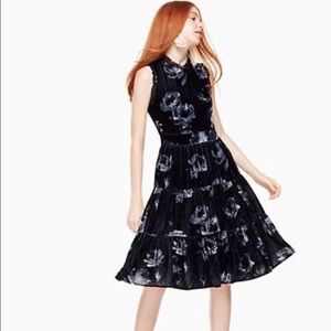 Kate Spade NWT Night Rose Deep Navy Velvet Dress